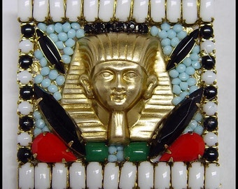 Egyptian Pharoah Brooch with Vintage Glass Stones.  Revival type jewelry