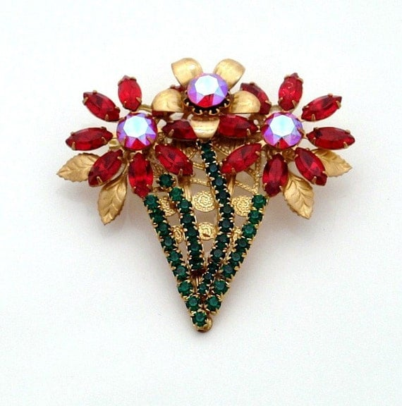 Ruby Poinsettia Bouquet Brooch - Vintage Rhinestones - OOAK floral pin - Red & Green for Christmas