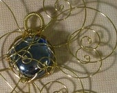 Forever Mini Faery Jewel - Cobalt Glass and Gold Tone Brass Wire Ornamental Pendant