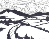 Mourne Mountains Irish Landscape pen and ink illustration