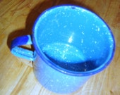 Vintage Country Blue Spatter Enamelware Mug / Cup  - Rustic Farmhouse , Etsy Treasury , REDUCED WAS 12.00