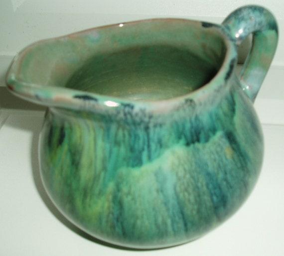 Vintage Sheffield Pottery Mission Green Drip Glaze By