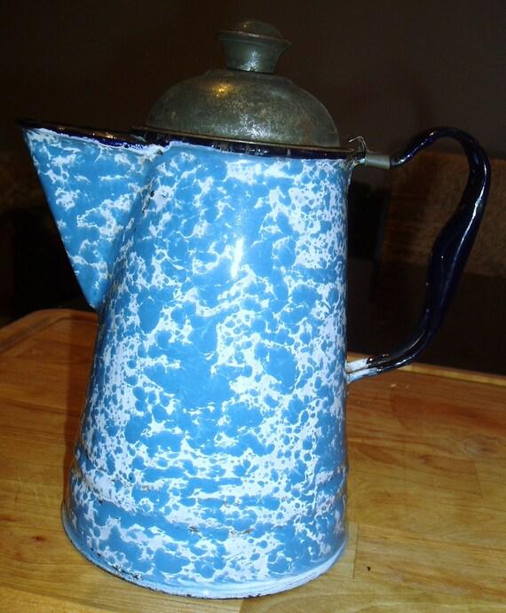 Antique blue GRANITEWARE coffee pot with Tin Lid - Swirl SPONGEWARE - Enamelware - French Cobalt Blue Handle - Rustic Farmhouse - TREASURY