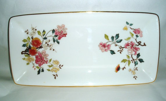 Staffordshire Royal Kent , English china floral Tray , Dish , Plate,  Platter - white shabby cottage chic Vanity Dresser Decor