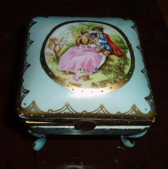 French Blue Porcelain Footed Trinket Jewelry Vanity Box - Romantic courting couple - covered ceramic box