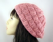 Hand Knit Beret Light Weight Cotton Mauve