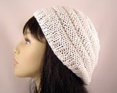 Hand Knit Beret Beehive Design Light Weight Cotton White