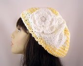 Hand Knit Beret with Flower Light Weight Cotton