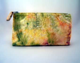 Handmade Zippered Pouch Color Splash Green and Yellow