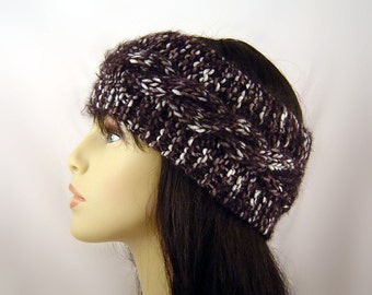 Hand Knit Ear Warmer Headband  Wool in Cable Stitch