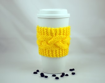 Bright Yellow Hand Knit Coffee To Go Sleeve Cozy Cable Stitch Starbucks