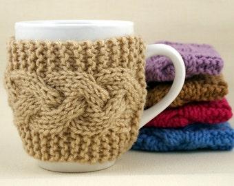 Buff Hand Knit Coffee Mug Cozy Cable Stitch