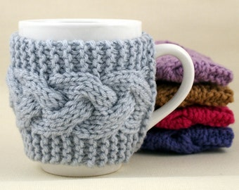 Light Grey Hand Knit Coffee Mug Cozy Cable