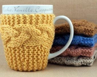 Cornmeal Hand Knit Coffee Mug Cozy Coaster