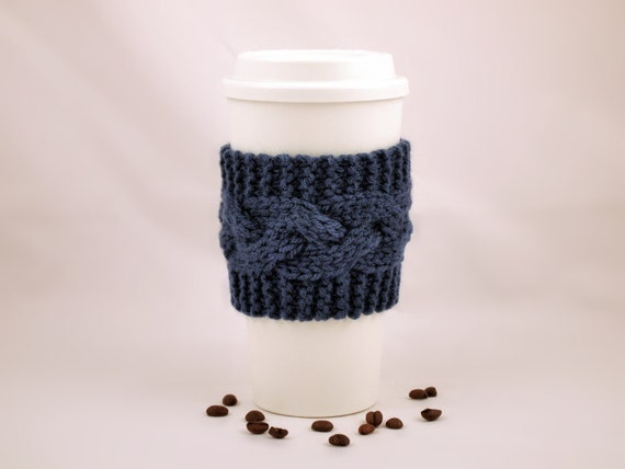 Windsor Blue Hand Knit Coffee To Go Sleeve Cozy Cable Stitch Starbucks