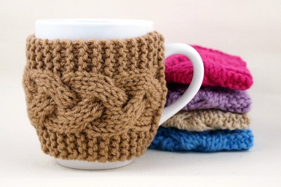 Warm Brown Hand Knit Coffee Mug Cozy Cable Stitch