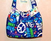 TOOTLES Sassy Sling created with Bag It Peace Blue Designer Fabric - - - (Made to Order)