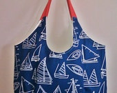 Reserved - - - TOOTLES Market Tote - Beach Tote - Gym Tote - Blue Nautical Designer Fabric - - - (Ready to Ship)