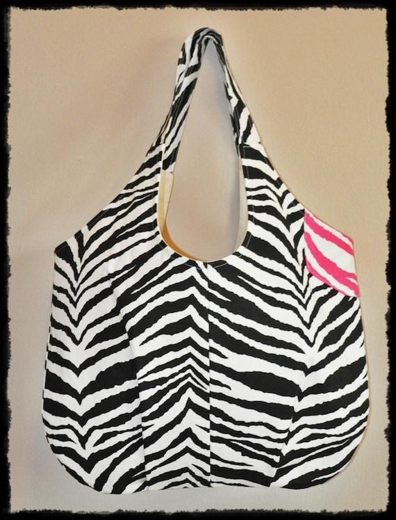 TOOTLES Market Tote - Beach Tote - Gym Tote - Zebra Print Black White Pink Designer Fabric - - - (Ready to Ship)