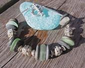 Chunky Lake Superior Beach Glass and Zen Stone Bracelet