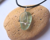 Sweet and Simple Sea Foam Green Lake Superior Beach Glass Pendant Necklace