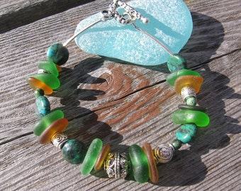 Chunky Authentic Lake Superior Beach Glass Bracelet