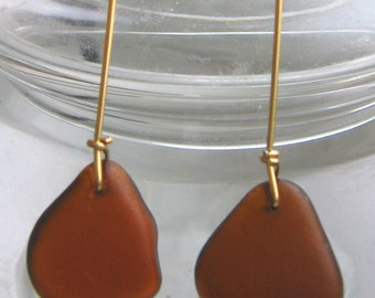 Dangly and Unique Amber Brown Drop Lake Superior Beach Glass Earrings