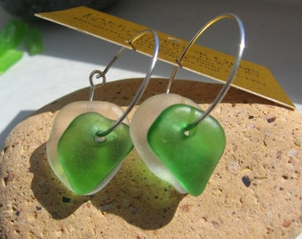 White and Vibrant Green Lake Superior Beach Glass Hoop Earrings Sterling