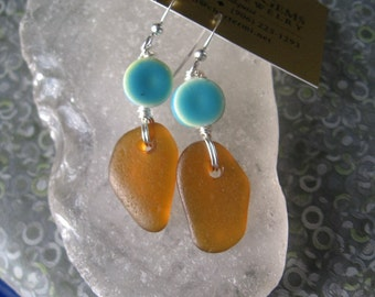 Dangly Amber Orange Lake Superior Beach Glass Earrings w/ Blue bead