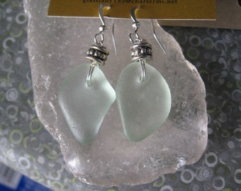 Dangly Pale Sea Foam Lake Superior Beach Glass  Silver Earrings