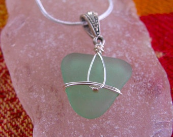 Deep Sea Foam Heart Real Lake Superior Beach Glass Pendant Necklace