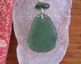 Deep Teal Green Blue Real Lake Superior Beach Glass Pendant Necklace