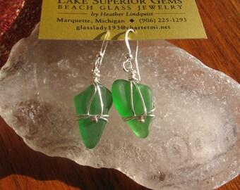 Fresh Green Lake Superior Beach Glass Earrings