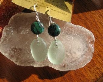 Dangly Sea Foam Green Lake Superior Beach Glass  Earrings