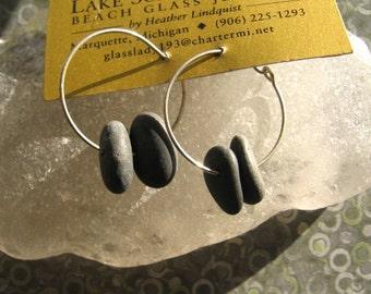 Lake Superior Double Zen Stone Dangle Hoop Earrings
