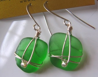 Vibrant Green Authentic Lake Superior Beach Glass Earrings
