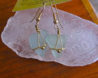 Fresh Aqua Blue Real Lake Superior Beach Glass Earrings