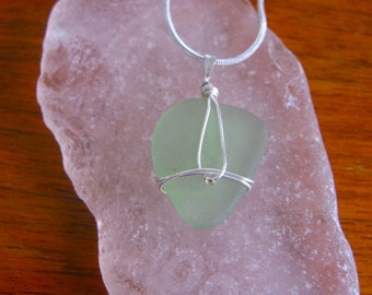 Beautiful Sea Foam Green Real Lake Superior Beach Glass Pendant Necklace