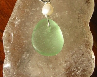 Small Aqua Blue Tear Drop Real Lake Superior Beach Glass Pendant Necklace