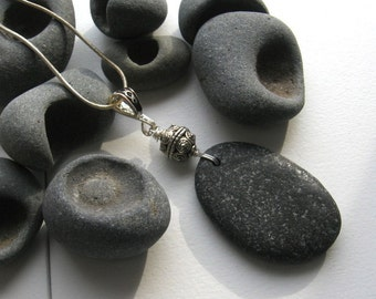 Lake Superior Elongated Basalt Zen Stone Pendant Necklace