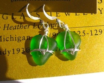Sweet Fresh Spring Green Lake Superior Beach Glass Earrings