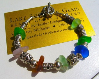 Chunky Multicolor LAKE SUPERIOR Beach Glass Bracelet with Silver Beads