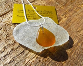 RARE Dainty Amber Orange Nugget Lake Superior Beach Glass Pendant Necklace
