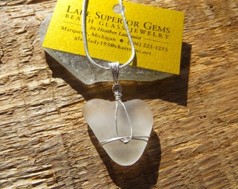 Simple Elegant Icy White Heart Wrapped Lake Superior Beach Glass Pendant Necklace