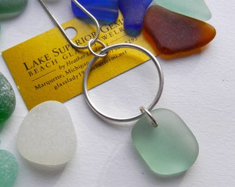 Silky Aqua Nugget AUTHENTIC Lake Superior BEACH GLASS pendant necklace on silver hoop