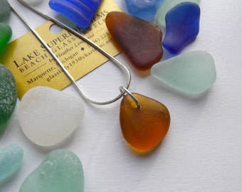Simple Elegant AMBER orange Lake Superior Beach Glass Pendant Necklace CHRISTMAS
