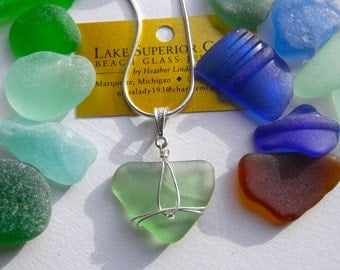 Simple Elegantly Wrapped AUTHENTIC SEAFOAM Lake Superior Beach Glass Pendant Necklace