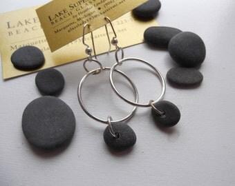 Lake Superior BASALT Zen Stone Earrings Handcrafted Hoop Dangle