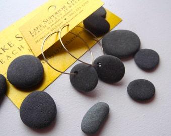 Simple Lake Superior Oval Basalt Zen Stone Hoop Earrings Heather Grey