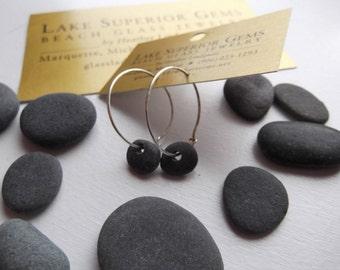Simple and TINY Lake Superior  Basalt Zen Stone Hoop Earrings Heather Grey